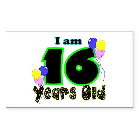 16th Birthday Rectangle Sticker