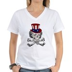 Uncle Crossbones Women's V-Neck T-Shirt