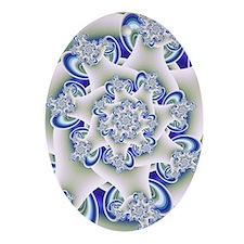 """Frosted Blue"" Fractal Art Ornament (Ova"