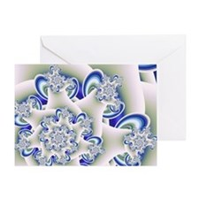 """Frosted Blue"" Fractal Art Greeting Card"