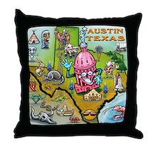 Cartoon map of texas Throw Pillow
