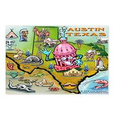 Unique Austin texas cartoon map Postcards (Package of 8)