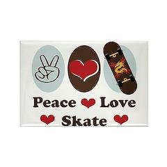 Peace Love Skate Skateboard Rectangle Magnet