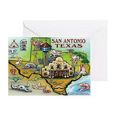 Unique San antonio texas cartoon map Greeting Card