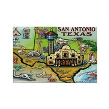 San Antonio TEXAS Map 11x17 Magnets