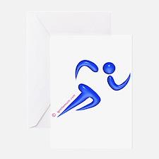 Running Blue Greeting Card