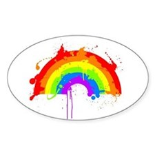 Rainbow Splatter'D Oval Decal