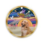 Xmas Star & Golden Retriever (B) Ornament (Rou