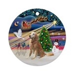 Xmas Magic-Older Golden Retrieve Ornament (Round)
