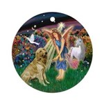 Angel Fantasy & Golden Retriever Ornament (Rou