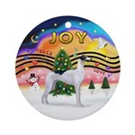 Xmas Music 2 - Greyhound (BW) Ornament (Round)