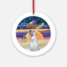 Xmas Sunrise - Irish Wolfhound Ornament (Round)