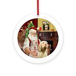 Santa's Two Italian Spinones Ornament (Round)