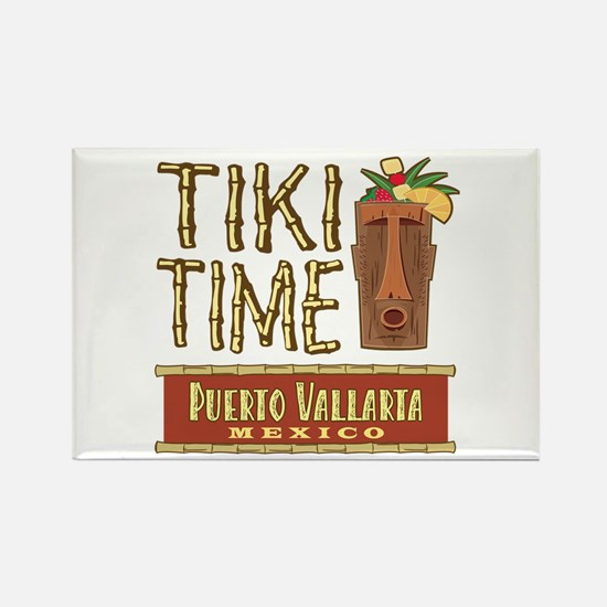 Puerto Vallarta Tiki Time - Rectangle Magnet