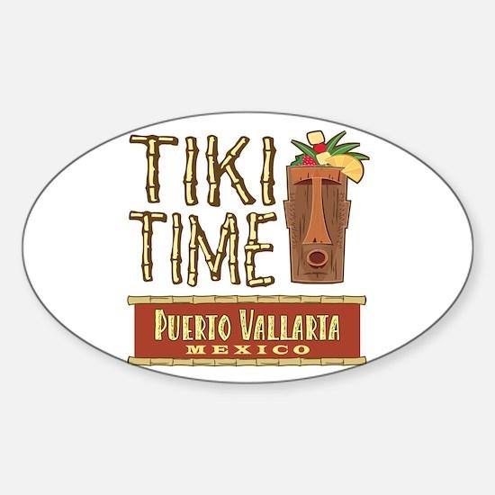 Puerto Vallarta Tiki Time - Oval Decal