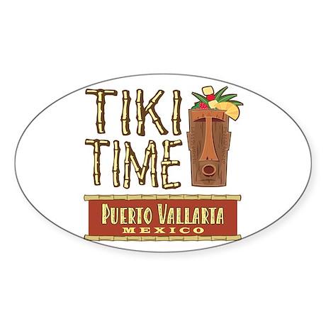 Puerto Vallarta Tiki Time - Oval Sticker