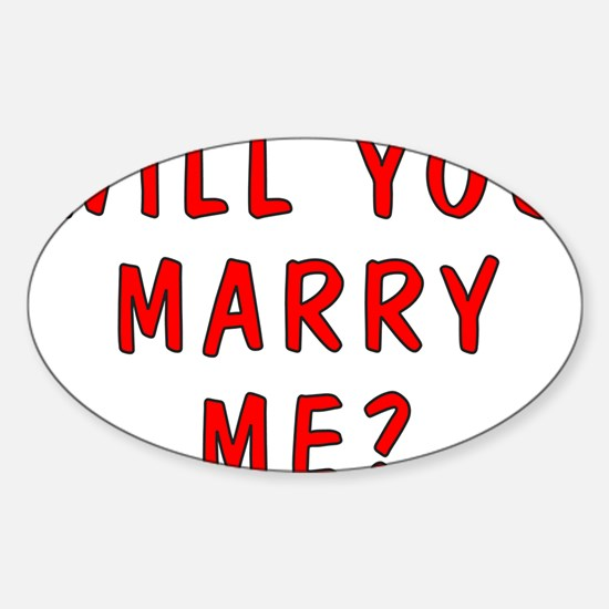 Will You Marry Me Oval Decal