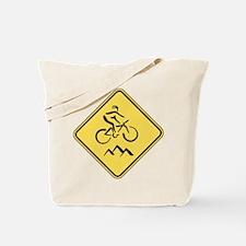 Caution: Mountain Biker Tote Bag