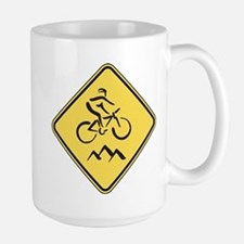 Caution: Mountain Biker Large Mug