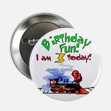 Train 3rd Birthday Button