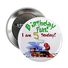 Train 5th Birthday Button