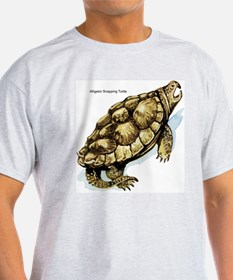 Alligator Snapping Turtle (Front) Ash Grey T-Shirt