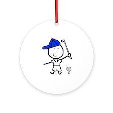 Boy & Golf Ornament (Round)