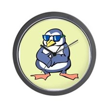 Penguin in Shades Wall Clock