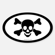 Skull & Bones Pirate Oval Decal