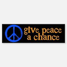 Give Peace a Chance - Blue & Orange Bumper Bumper Sticker