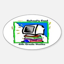 PC & Books 6th Grade Oval Decal