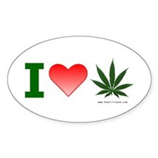 """I Love Weed"" Oval Decal"