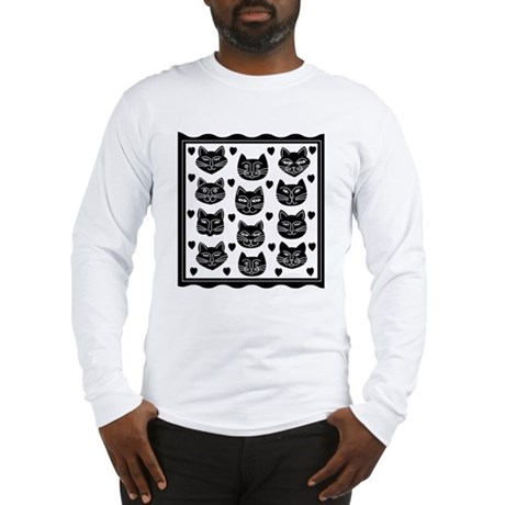 Cat Faces (Front only) Long Sleeve T-Shirt