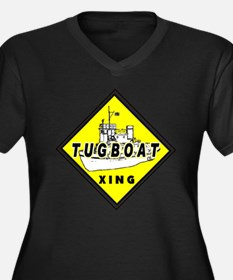 Tugboat Xing sign Women's Plus Size V-Neck Dark T-