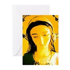 virgin head yellow larger Greeting Cards