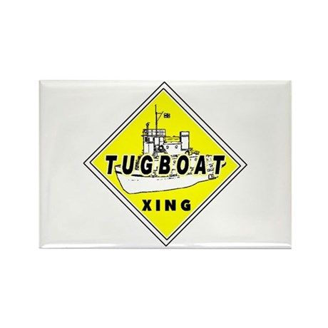 Tugboat Xing sign Rectangle Magnet