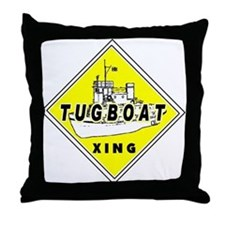 Tugboat Xing sign Throw Pillow