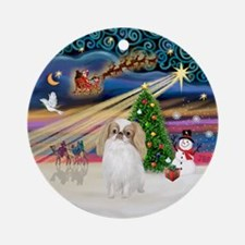 Xmas Magic-Japanese Chin (lemon) Ornament (Round)