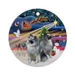 Xmas Magic - Two Keeshonds Ornament (Round)