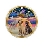 Xmas Star-two Labrador Retrievers Ornament (Round)