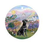 Cloud Angel 2 & Black Lab Ornament (round)