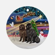 Xmas Magic-2 Newfies (blk+brn) Ornament (Round)