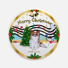 XmasMusic1-Papillon #6 Ornament (Round)