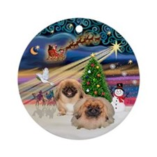 Xmas Magic - 2 Pekingese (red) Ornament (Round)