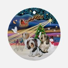 Xmas Magic - 3 Petit Bassets Ornament (Round)