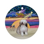 Xmas Star-Polish Lowland S.Dog Ornament (Round)