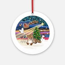 Xmas Magic - Pomeranian Pup Ornament (Round)