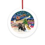Xmas Magic - 5 Pomeranians Ornament (Round)
