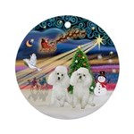 Xmas Magic & two white Poodles Ornament (Round