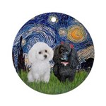 Two Poodles (b+w) - Starry Night Ornament (round)